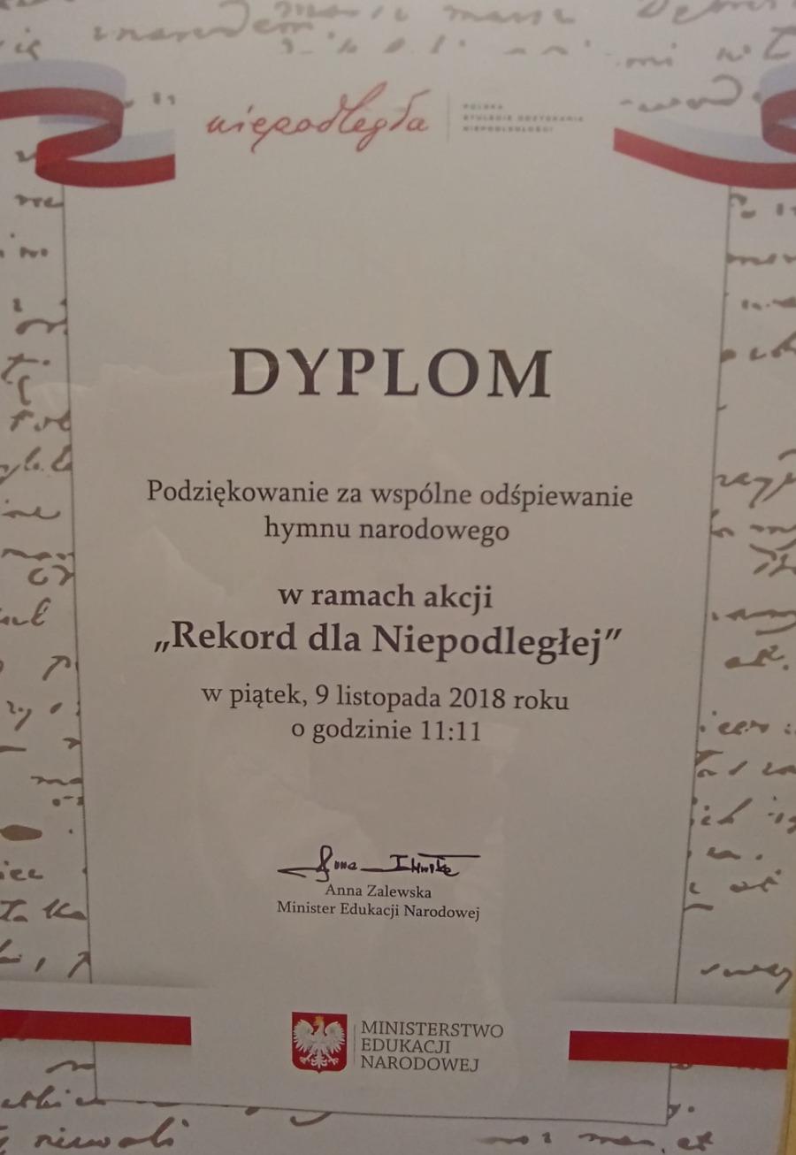 Dyplom Rekord dla Niepodległej