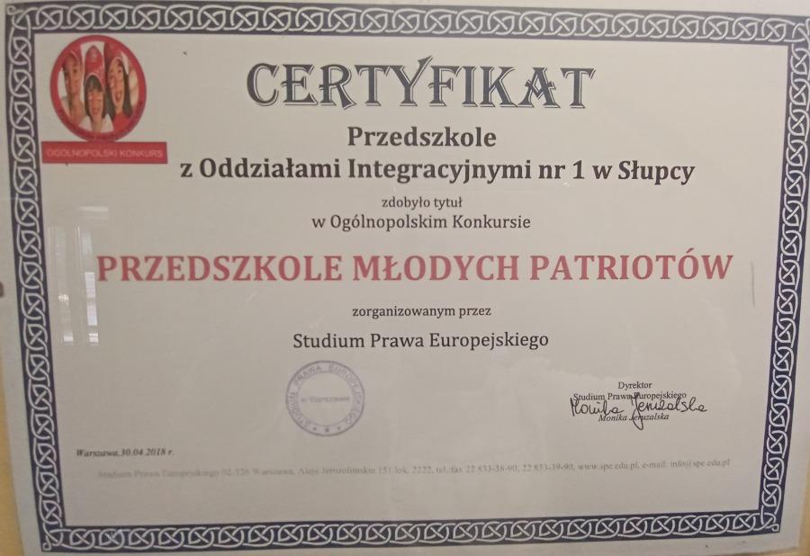 Certyfikat Przedszkole Młodych Patriotów