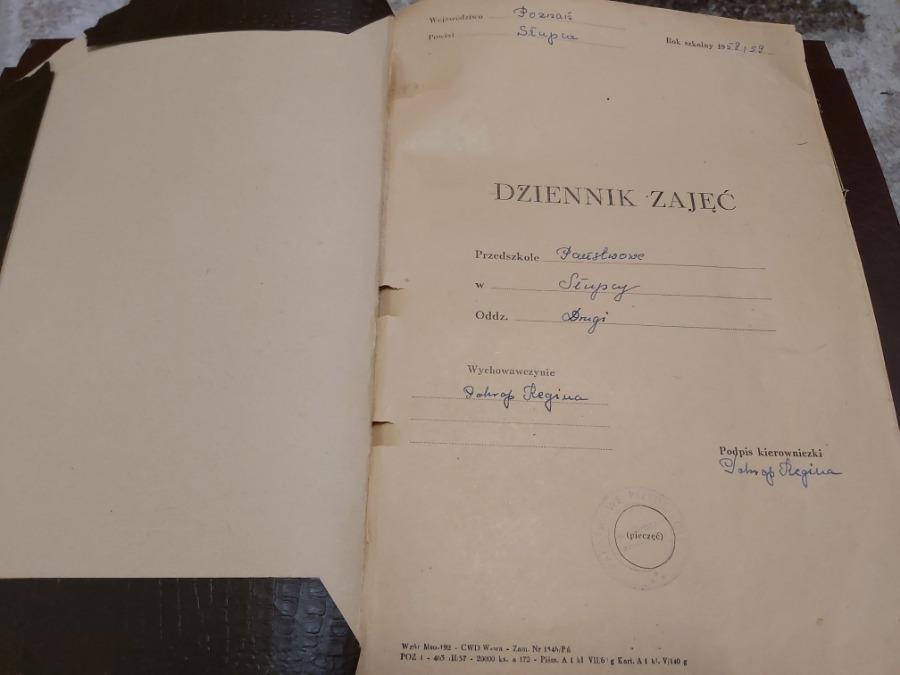 Pierwszy dziennik przedszkola z roku 1958/1959